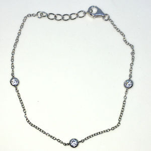 Silver 7 inch Round white CZ cable chain Bracelet